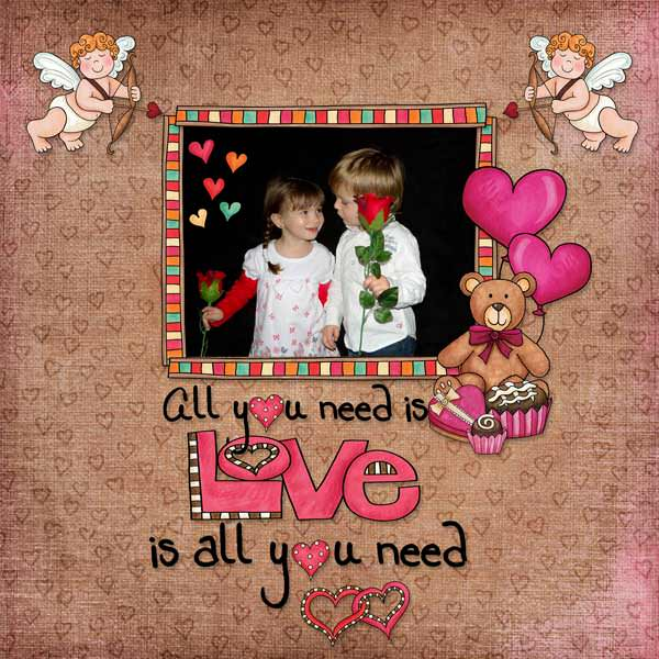 Valentine's digital scrapbook page by Stacey