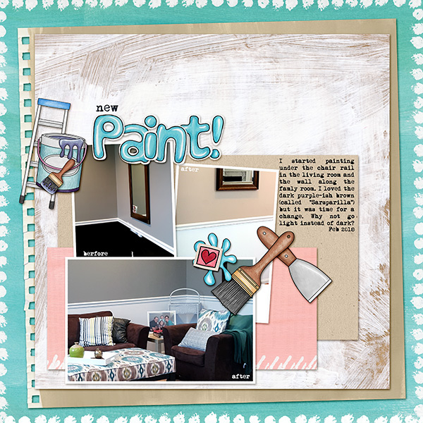 digital scrapbook layout created with template