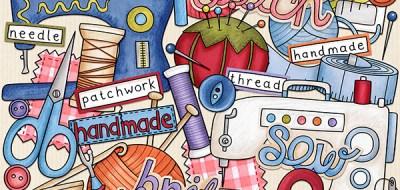 sewing digital scrapbook kit