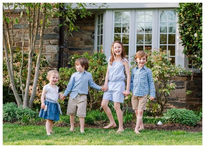 Four siblings in springtime