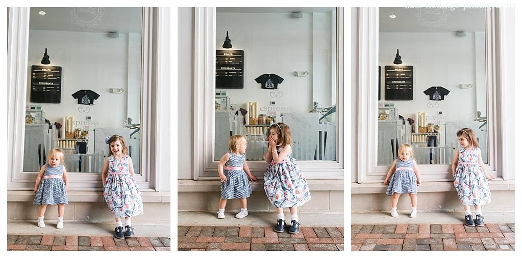 Baby sister models her big sister's moves