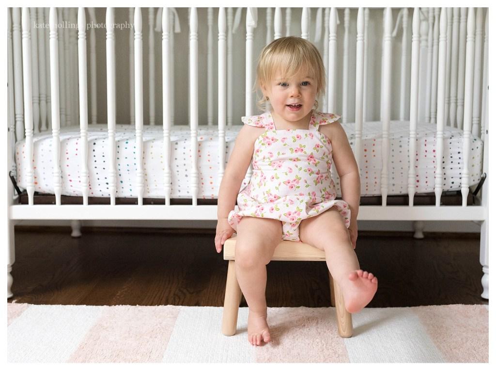 Baby girl kicks on her stool
