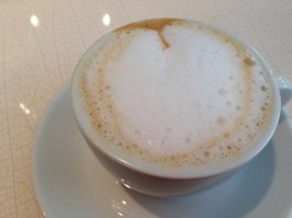 Almond milk latte at Cafe Pinson