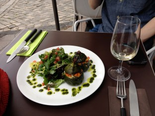 Our stuffed zucchini (veggies and smoked mozzarella) and white wine at Jeanne B in Montmartre.