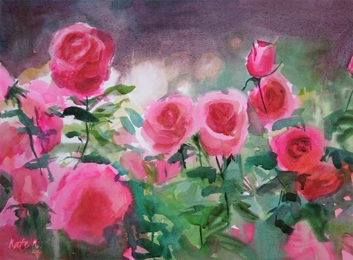 2017 - art painting floral watercolor roses by Kate Kos - Mum's Garden