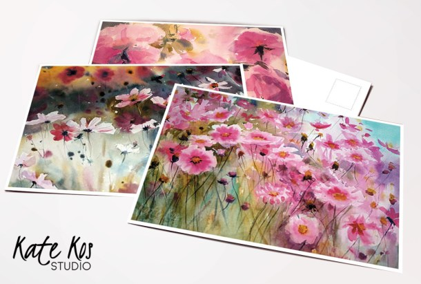 set of free postcards featuring floral paintings by Kate Kos