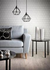 Salon avec tapisserie et luminaires graphique