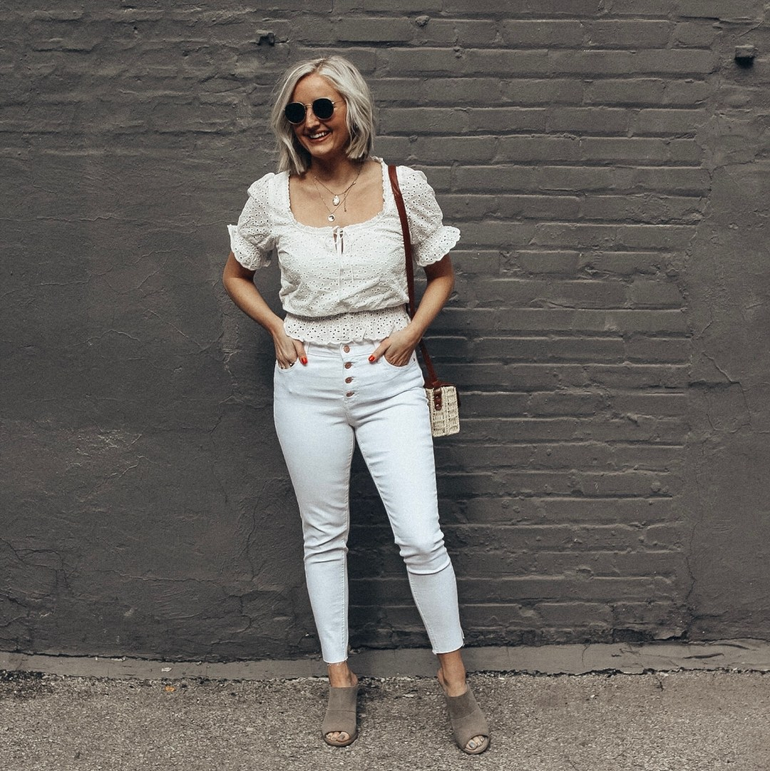white jeans and spring top