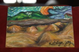 "A re-creation of Van Gogh's Wheat Sheaves and Rising Moon, completed July 2012. 5""x7"" on Pastelbord. CURRENTLY FOR SALE."