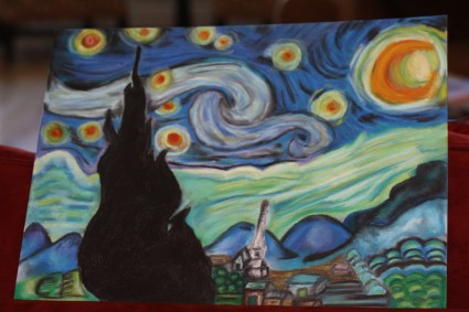 A re-creation of Van Gogh's Starry Night as well as my very first painting that I made with my brand new set of Oil Pastel's that I got for Christmas! Finished January of 2012.