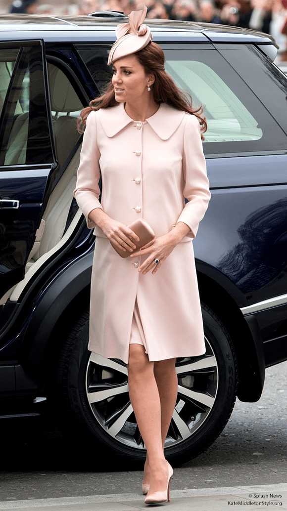 Duchess Kate in the pink Alexander McQueen coat and accessories