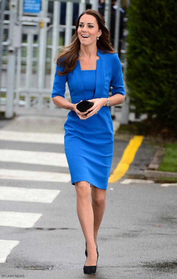 Kate Middleton wearing her blue L.K. Bennett Detroit dress