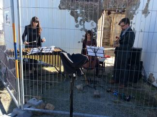 Bree van Reyk, Pete Harden and Kate Moore perform Dolorosa at Mount Stromlo for The Canberra International Music Festival
