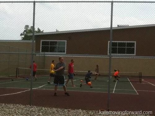 playing dodgeball