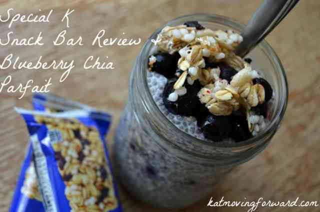 A delicious parfait made from a Special K bar, blueberries and chia seed pudding. An awesome healthy snack!