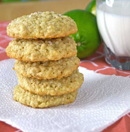 oatmeal cookies with lime and coconut