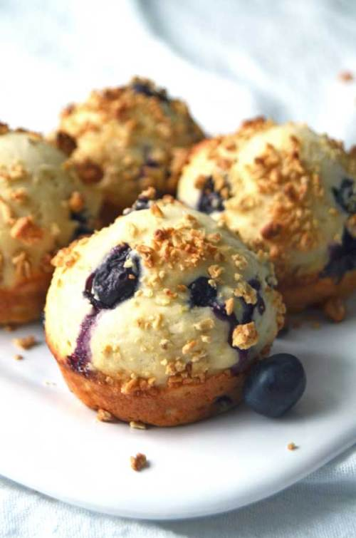 Lemon Blueberry Muffins with granola topping are a delicious and healthy breakfast muffin. Perfect for spring brunch or an easy snack!