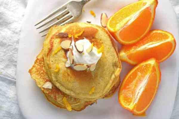Orange Pancakes made with Greek Yogurt.