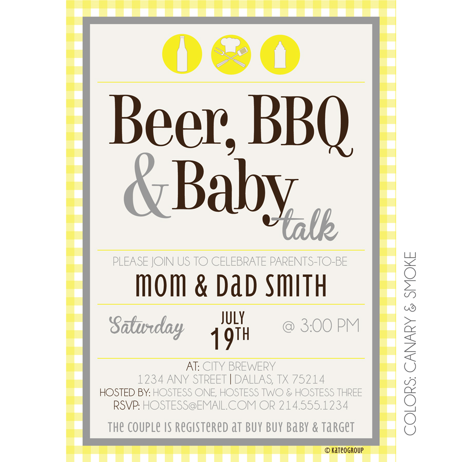 beer bbq baby talk baby shower invitation