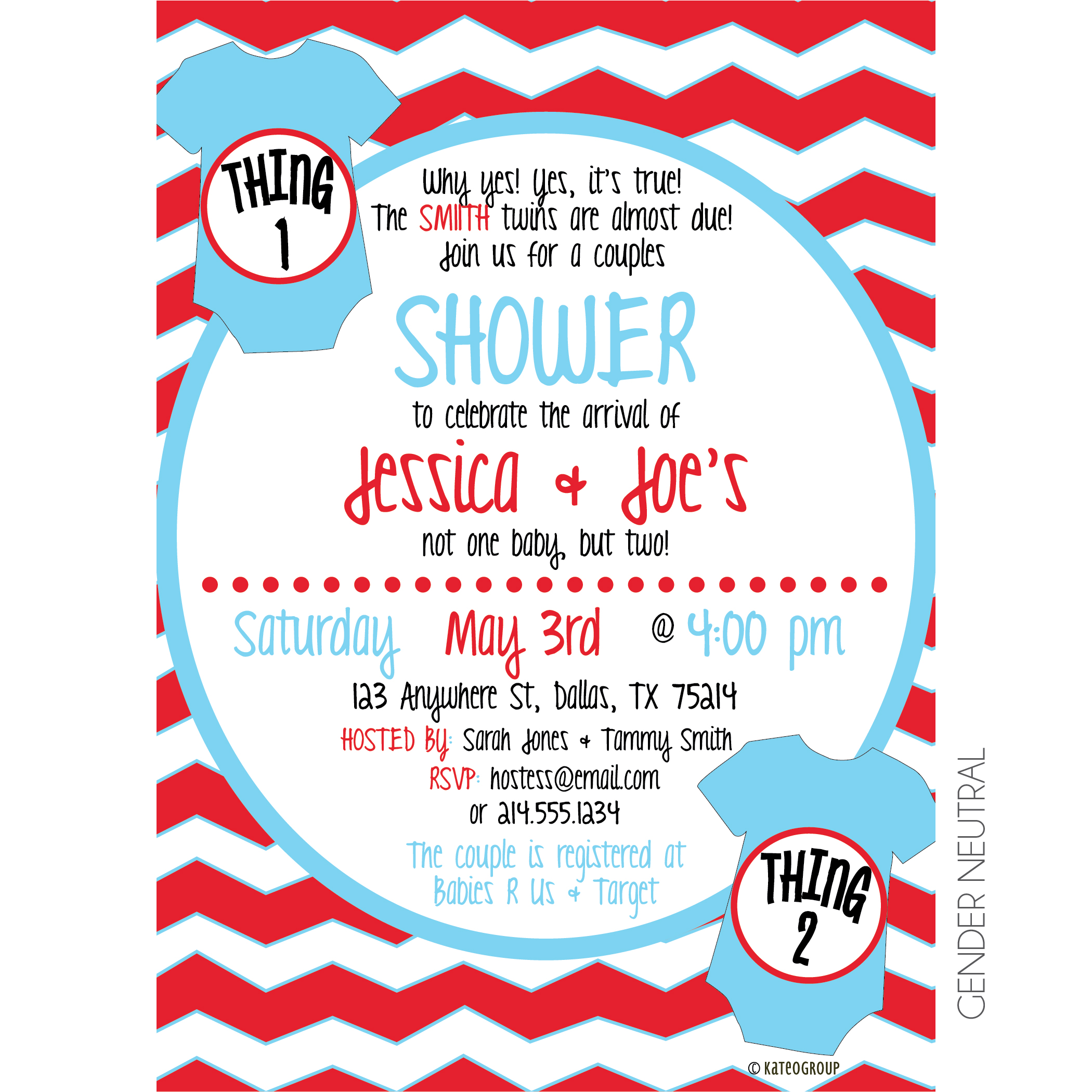 Thing One Thing Two Baby Shower Invitation