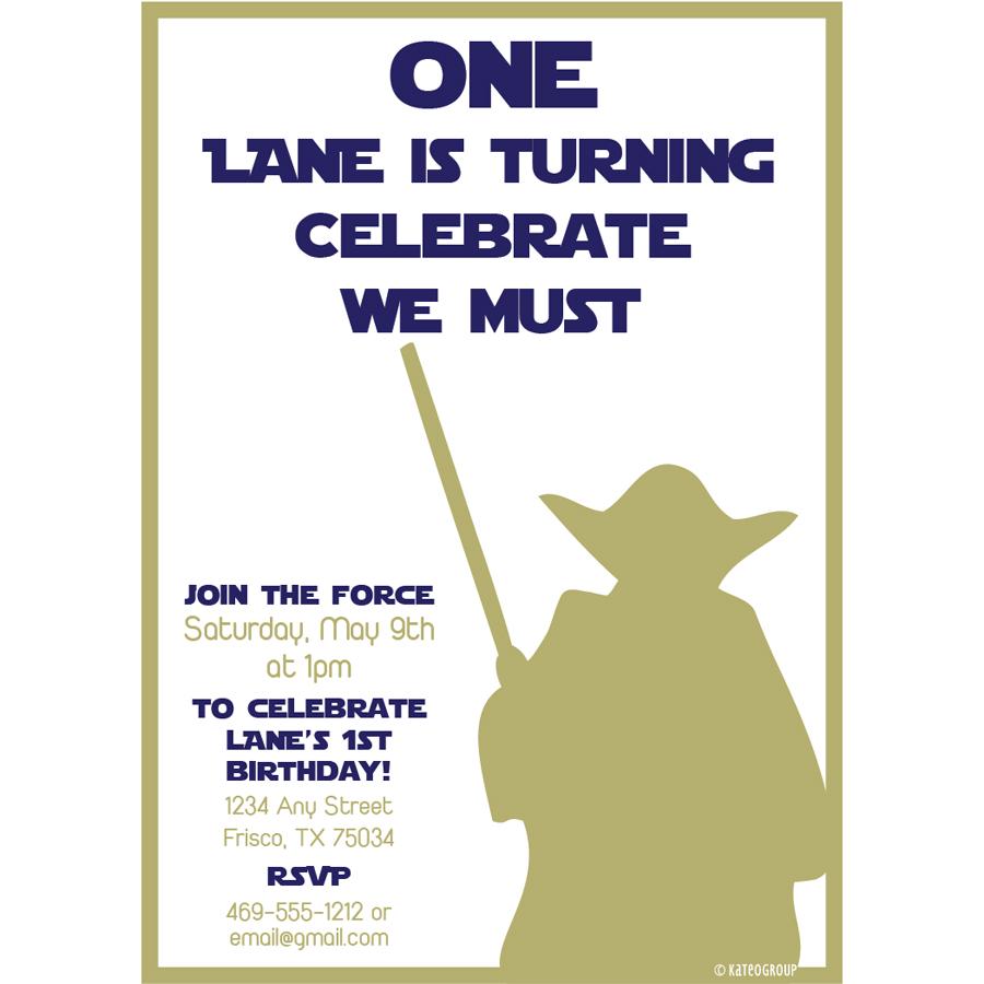 Starwars First Birthday Party Invitation Kateogroup
