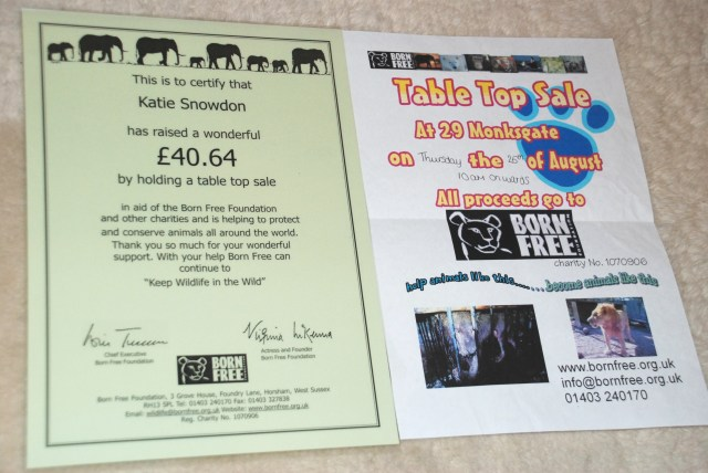 Katie Snowdon certificate Born Free