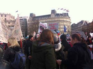 Activists at a dolphin march, London 2015