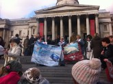 Protesters and animal rights activists at a dolphin march