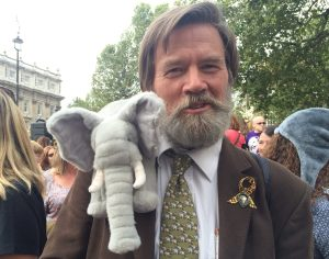 Ian Redmond and Archie the Elephant