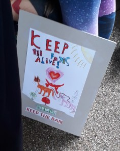 child's banner at anti fox hunting march 2017