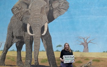 kate on conservation stands with African bull elephant by Omra Sian