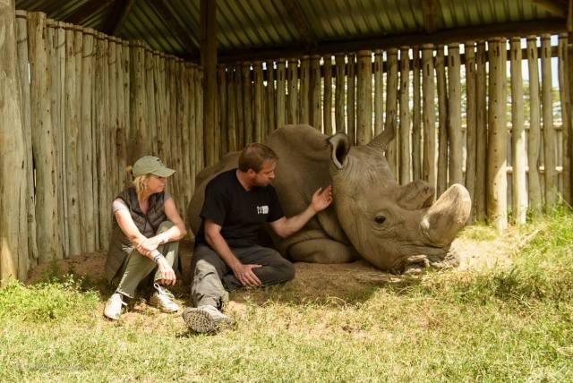 Margot Raggett and Dan Richardson with Sudan last male northern white rhino