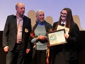 The Jane Goodall Award for Individual Endeavour winner Chloe Bonner. Award presented by Quest Overseas