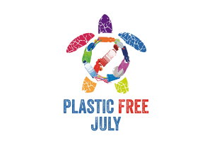 Plastic free July logo - turtle made of plastic bottles