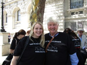 Kate on Conservation and Stanley Johnson outside 10 downing street for STAE