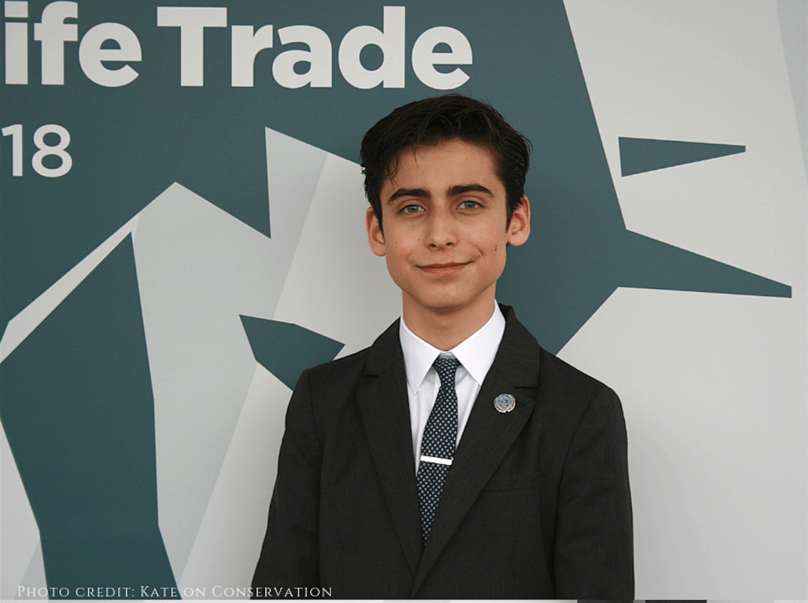 Aidan Gallagher at the illegal wildlife trade conference close up
