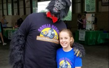Gorilla Heroes' Addy with gorilla mascot