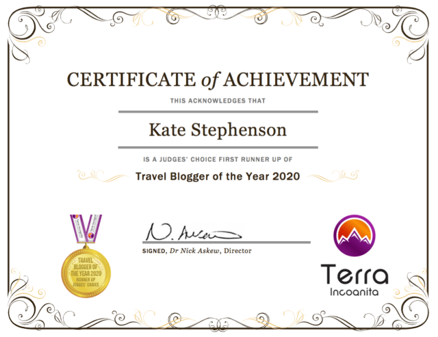 terra incognita travel blogger of the year 2020 Runner-Up certificate