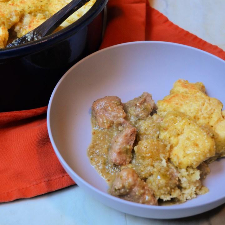 Pork Verde Stew with Cornbread Dumplings