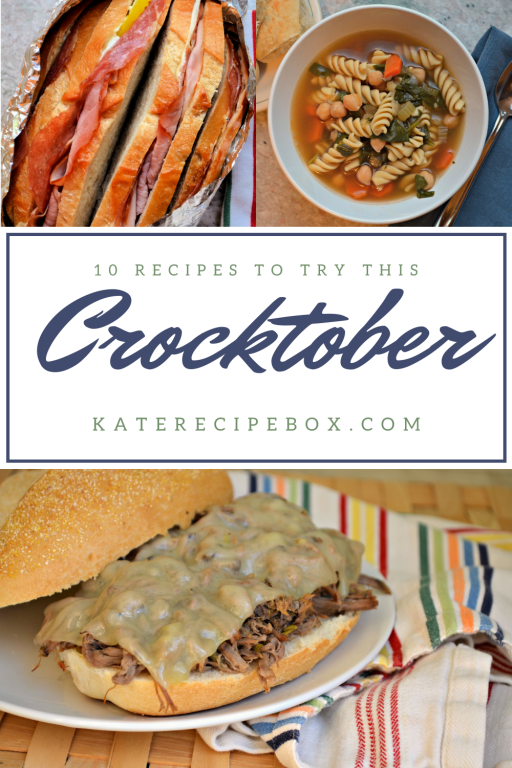 """Pictures of slow cooker sandwiches and soup, with the words, """"10 Recipes to Try this Crocktober""""."""