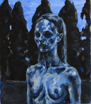 Katerina Sakkas, Cypresses, 2011, acrylic on linen