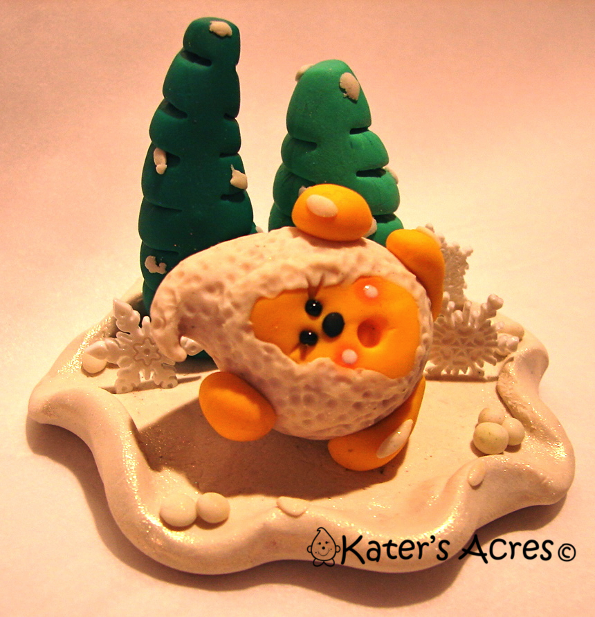 Snowball Parker Polymer Clay StoryBook Scene by KatersAcres