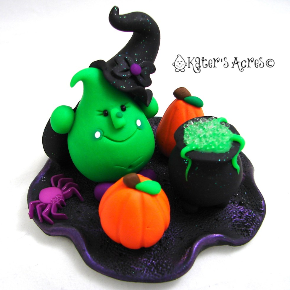 Halloween Witch Parker - Limited Edition Polymer Clay Figurine by KatersAcres