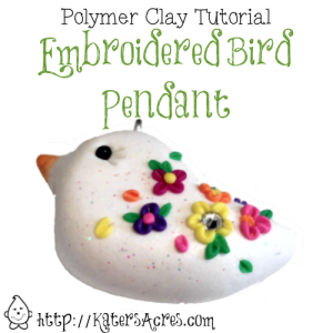 Polymer Clay Embroidered Bird Pendant Tutorial by KatersAcres