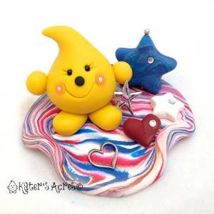 Americana Patriotic Parker - Polymer Clay StoryBook Scene Figurine by KatersAcres