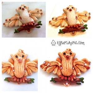 Polymer Clay Owl Finish Features by KatersAcres