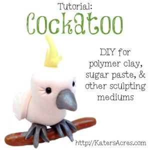 Polymer Clay Cockatoo Tutorial by KatersAcres | Perfect for sugar paste, gum paste, modeling chocolate, or other sculpting mediums too.