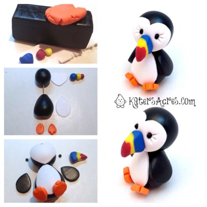 PIN NOW, MAKE LATER: Polymer Clay Puffin Tutorial by KatersAcres - Complete Instructions on the Blog | Great for fondant, gum paste, clay, & much more!
