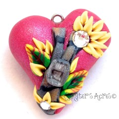 Heart Charm with Zipper Cane, Embroidered Flowers, & Caned Leaves by KatersAcres