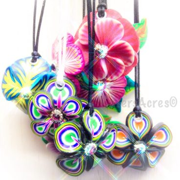 Polymer Clay Flower Pendants by KatersAcres